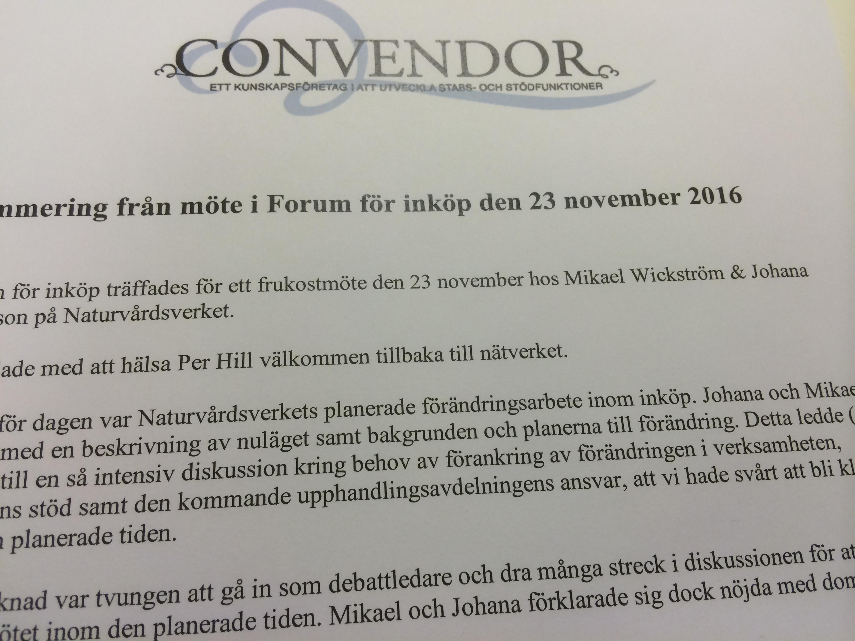 Möte i Forum för inköp den 23 november