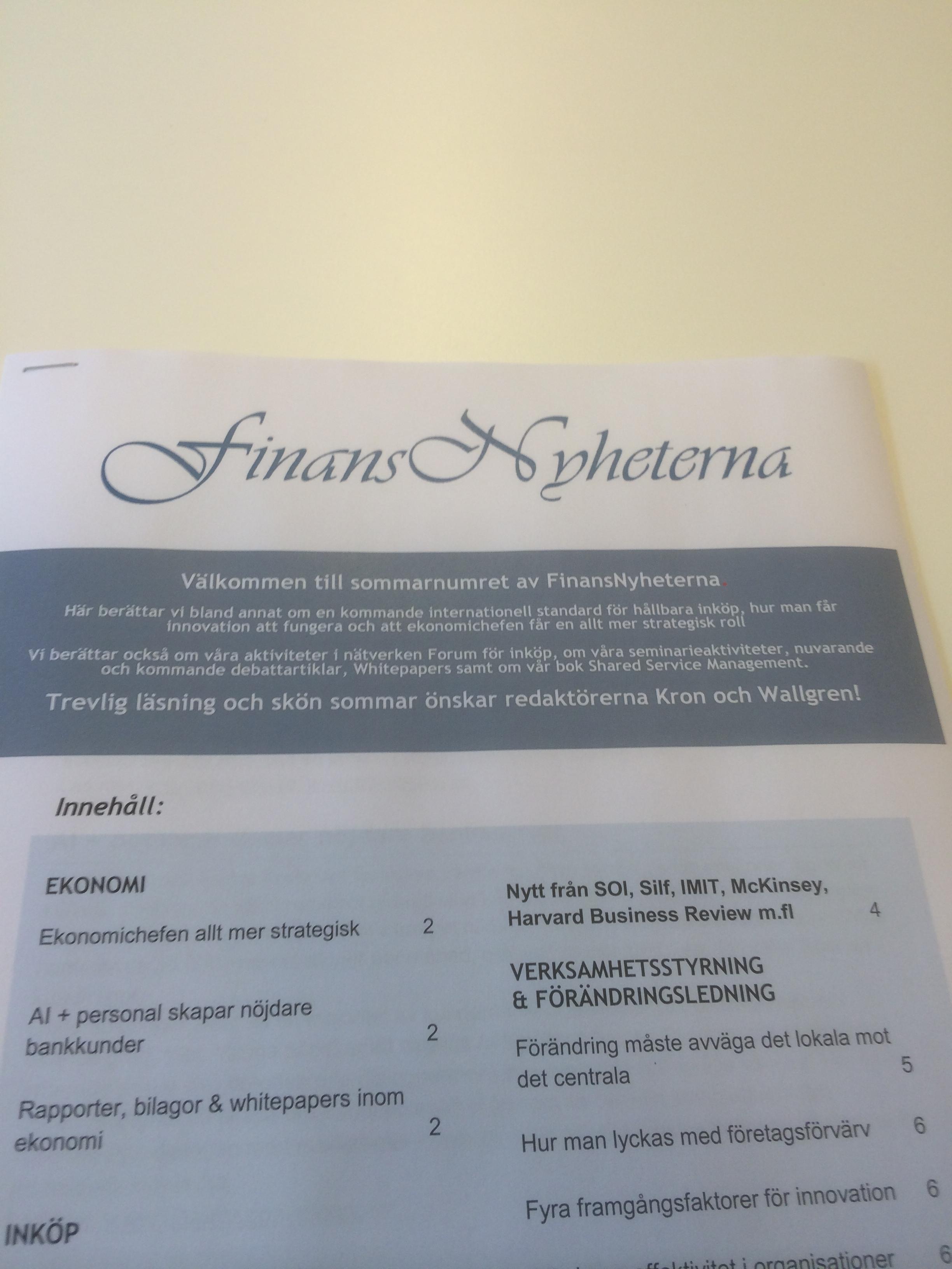 FinansNyheternas senaste nummer